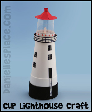 Lighthouse Craft Made with Cups Kids Can Make www.daniellesplace.com