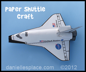 paper space shuttle craft for kids www.daniellesplace.com