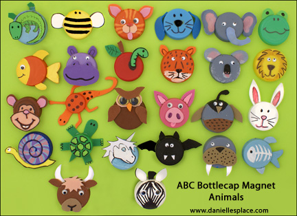 ABC Bottle cap Animal Magnet Craft www.daniellesplace.com