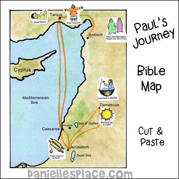 bible map of pauls journey for sunday school  www.daniellesplace.com
