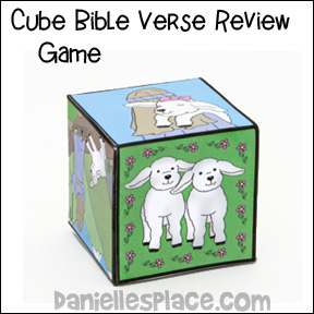 Cube Bible Verse Review Game for Psalms 23 Bible Lesson for Children