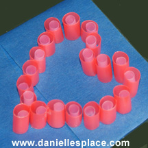 drinking straw perler beads heart shape