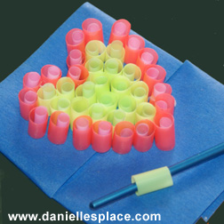 drinking straw perler beads heart shape instructions picture
