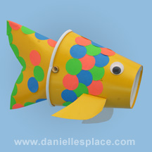 fish puppet craft made from paper cups