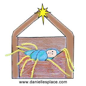 Baby Jesus in the Manger Envelope Craft from www.daniellesplace.com