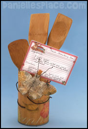 Recycled Can Spoon and Recipe Card Holder Craft for Mother's Day