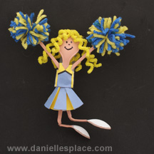 IY Cheerleader Craft Made Plastic Spoons and Paper www.daniellesplace.com