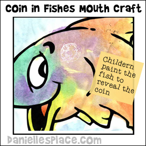fish with coin in mouth Bible activity sheet for Sunday school
