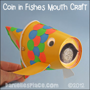 Paper Cup Fish with Paper Coin in its Mouth Craft for Children's Ministry