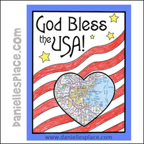 God Bless the USA - Map learning activity www.daniellesplace.com