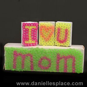 Mother's Day Craft from Cut and melted Drinking Straws
