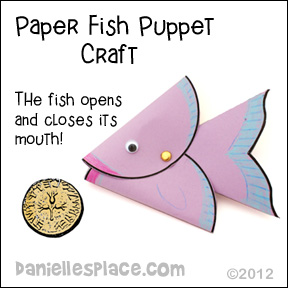 Fish puppet craft with opening and closing mouth for Peter finds a coin in the fishes mouth Bible lesson