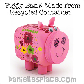 Piggy Bank Made from Recycled Plastic Container Craft for Kids from www.daniellesplace.com