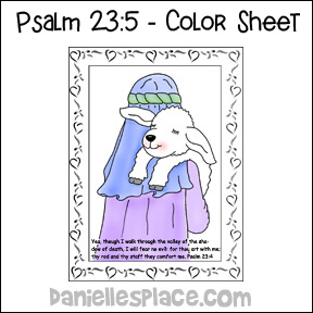 The Lord is My Shepherd sheep Bible Color Sheet