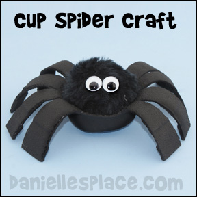 Spider Craft Melted Styrofoam Cup Craft for Kids