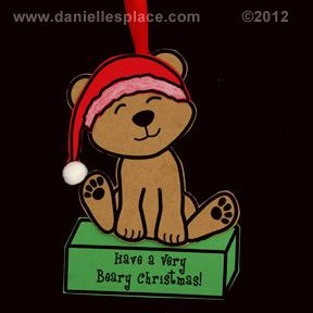 """Have a Very Beary Chirstmas"" Bear Christmas Ornament Craft www.daniellesplace.com"