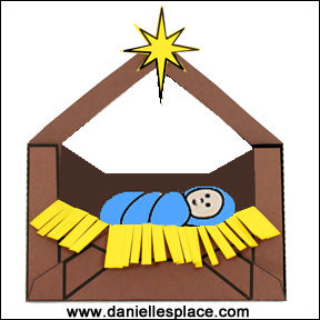 Baby Jesus in a Manger Printable Envelope Craft for Kids from www.daniellesplace.com