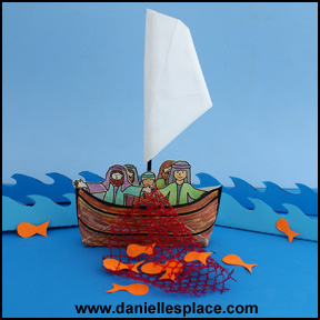 Envelope boat Bible Craft for Sunday school - The Miraculous Catch of Fish