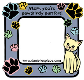 Mom, You're Pawsitively Purrfect Cat Picture Frame Craft for Kids www.daniellesplace.com