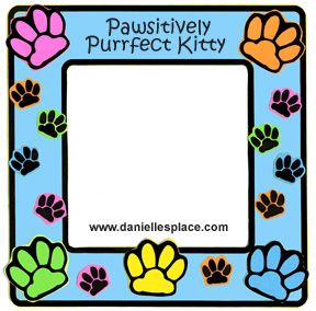 Pawsitively Purrfect Kitty Paw Print Frame Craft www.daniellesplace.com
