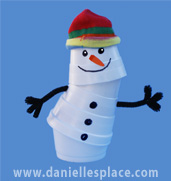 Poseable Snowman Cup Craft for Kids
