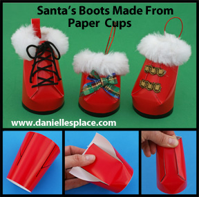 Santa's Boots Paper Cup Christmas Ornament Craft for Kids www.daniellesplace.com