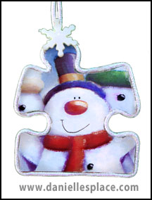 Snowman puzzle piece Christmas Ornament Craft www.daniellesplace.com