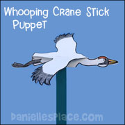 whooping crane stick puppet