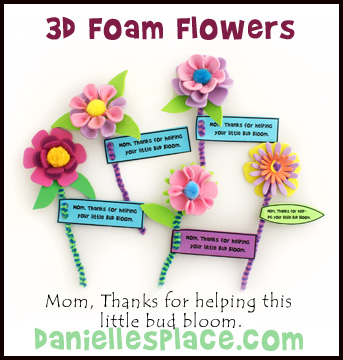 3D Foam Flowers with Note Mother's Day Craft Kids Can Make www.daniellesplace.com