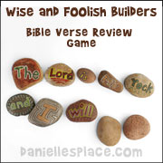 Bible Verse Review Concentration Game for Wise and Foolish Builders Sunday School Lesson from www.daniellesplace.com
