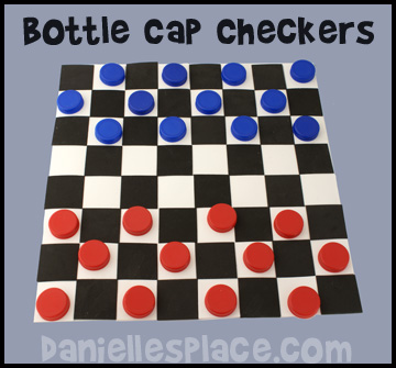 Milk Jug Caps Checker Board Game Kids Can  Make www.daniellesplace.com