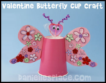 Butterfly Valentine's Day Cup Craft Kids Can Make www.daniellesplace.com