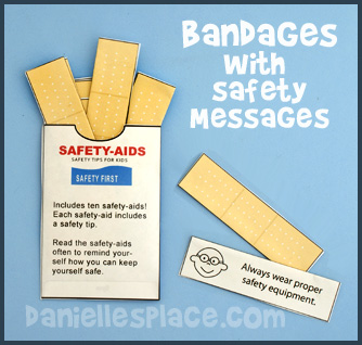 Safety-aids Bandages with a Safety Message and Bandage Envelope Kids Can Make www.daniellesplace.com