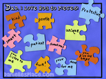 Love You to Pieces Father's Day Puzzle Craft www.daniellesplace.com