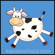 Cow Paper Plate Craft for Kids from www.daniellesplace.com