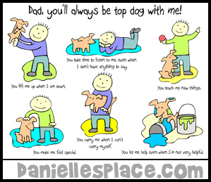 "Father's Day Card Craft for Kids - ""You'll Always be Top Dog to Me!"" from www.daniellesplace.com"