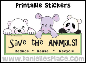 Save the Animals Printable Earth Day Stickers www.daniellesplace.com