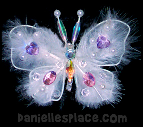 Feather Butterfly Christmas Ornament