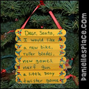 Craft Stick Letter to Santa Christmas Ornament Craft from www.daniellesplace.com