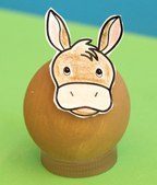 donkey  made from wooden ball from www.daniellesplace.com
