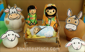 Hawaiian Mary and Joseph Peg Doll Craft with printable patterns from www.daniellesplace.com