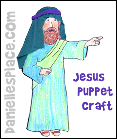 Jesus Puppet Bible Craft for Kids from www.daniellesplace.com