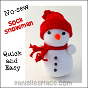 No-sew Sock Snowman Craft for Kids from www.daniellesplace.com