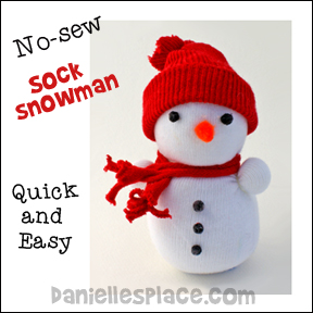 Sock Snowman Craft - No-sew Snowman Sock Craft from www.daniellesplace.com
