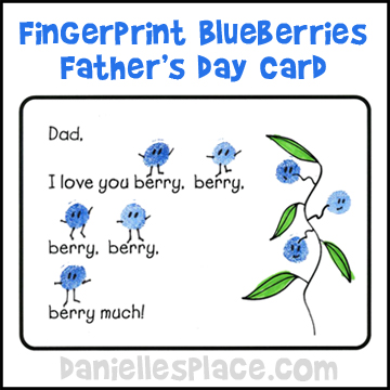 "Father's Day Craft for Kids - ""I Love You Berry Much"" Card Craft from www.daniellesplace.com"