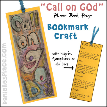 "Bible Craft - ""Call on God"" Bookmark Bible Craft for Sunday School made from a Phone Book Page from www.daniellesplace.com"