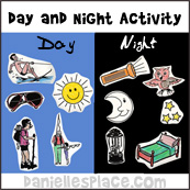 Day and Night Activity Sheet for Creation Bible Lesson from www.daniellesplace.com