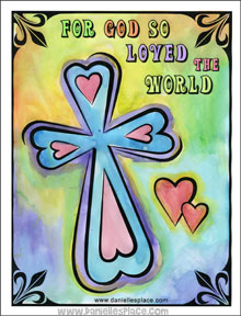 "Easter Cross Craft - ""For God so Loved the World"" Cross Craft from www.daniellesplace.com"