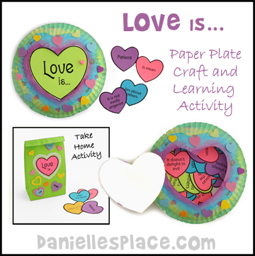 love is paper plate craft, game and learning activity from www.daniellesplace.com