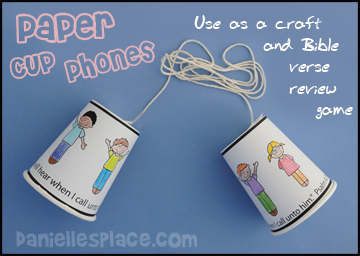 Paper Cup Phone Craft and Bible Verse Review Game